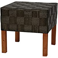 Oriental Furniture Woven Fiber Stool - Black