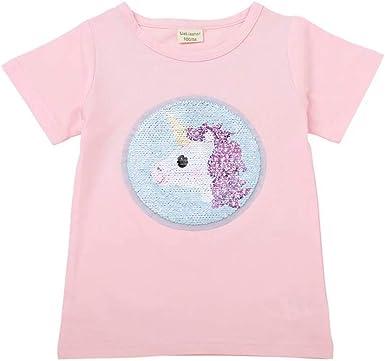 Camisa con Lentejuelas Flip Unicornio Camisa con Lentejuelas Flip Camiseta con Lentejuelas para niños Niños Niñas Lentejuelas mágicas Camiseta de algodón Tops: Amazon.es: Ropa y accesorios
