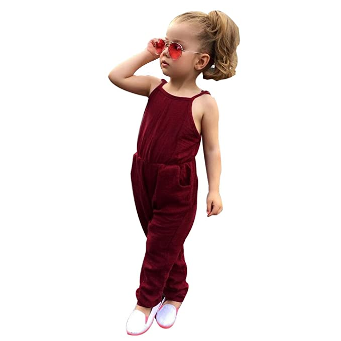 8a46e9668 Amazon.com  Sameno Toddler Infant Kids Baby Girl Strap Jumpsuit ...