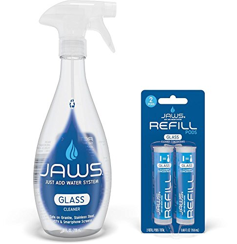 JAWS Glass Cleaner Bottle with 2 Refill Pods. Non-toxic and Eco-friendly Cleaning Products. Refill and reuse.