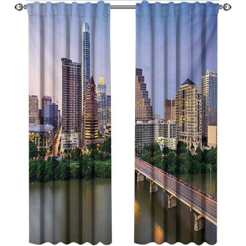 Returiy Modern, Party Curtains Decorations, Austin Texas American City Bridge Over The Lake Skyscrapers USA Downtown Picture, Curtains and Drapes for Living Room, W72 x L84 Inch, Multicolor ()