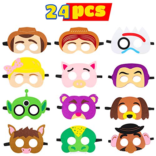 MALLMALL6 24Pcs Toy 4th Masks Birthday Party Supplies Toys 4th Adventure Party Favors Dress Up Costume Mask Include Woody Buzz Lightyear Bo Peep Forky Slinky Dog Jessie for Kids Boys Girls]()