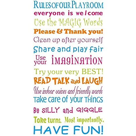 BooDecal Rules of Our Playroom Vinyl Qutoes Wall Decals for Kids Family  House Playroom Rules Quotes for Teens Boys Girls Bedroom Toddlers Room  Decor ...