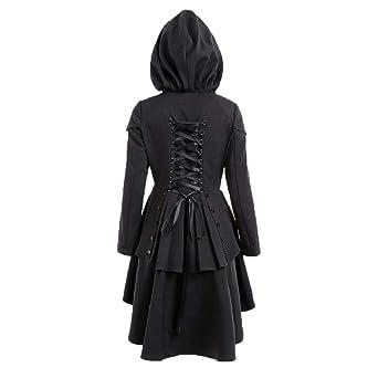 Damen Gothic Lange Mantel Frauen Herbst Asymmetrisch Saum Lace Up  Kapuzenmantel Elegant Langarm Kapuzenpullover Mäntel Kleider Trenchcoat  Lang Parka Jacken ... f08823e8a2