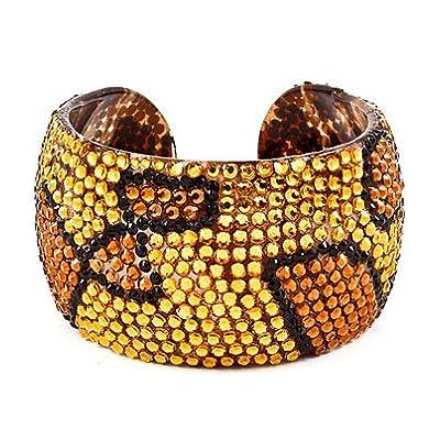 "Discount WOW!!! Celebrity Style Zebra, Leopard Animal Print Crystal & Rhinestone Handmade Plastic Open Bangle 2"" Wide & Lightweight by Jersey Bling"