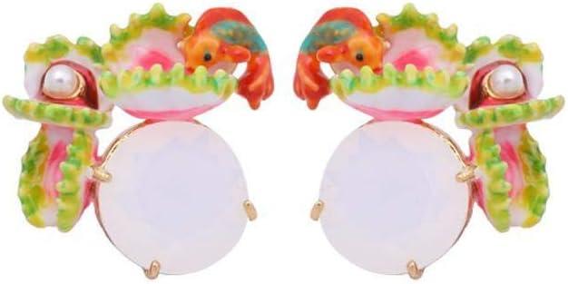 Yarmy Pendientes de Damas Europeas y Esmalte de Moda Americana con Incrustaciones de Perlas Pendientes tamaño: 2.2 * 2,2 cm
