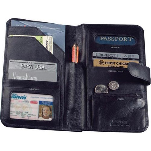 Cowhide Nappa Leather Passport Travel Organizer Color: Black, Closure: Magnetic Snap ()