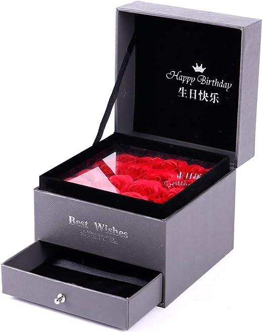 AMhuui Rosesoap Caja de Regalo, romántica Rosa Flor jabón con ...