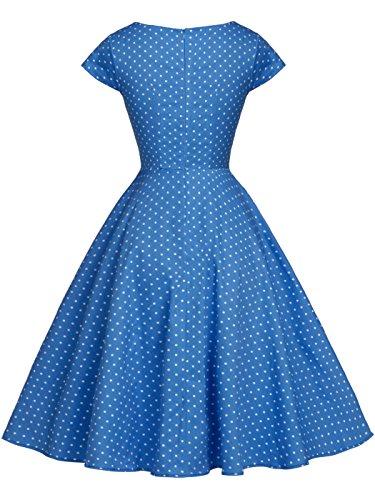 Vintage FAIRY Rockabilly de Vestido COUPLE Puntos DRT019 Mangas Blancos Cap Baile Azules Lunares 1950S EEqBnwrA