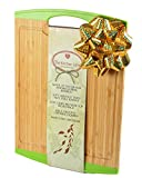 Large Natural Bamboo Cutting Board with Free e-book-Anti slip-Chopping Board with Juice Groove and Handle-Anti microbial- Chopping and Serving Tray-Silicone Edges-Crack Resistance