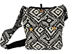 TRIBESMANGOLD-Black Tribal Print Hippie Hobo Sling Shoulder Crossbody Bag Purse Cotton Boho