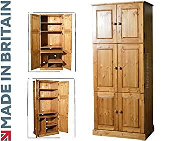 Solid Pine Computer Hideaway Cabinet, Large 6 Door Handcrafted Workstation,  Desk, Bureau, Computer Cupboard. Choice Of Colours. No Flat Packs, No  Assembly ...