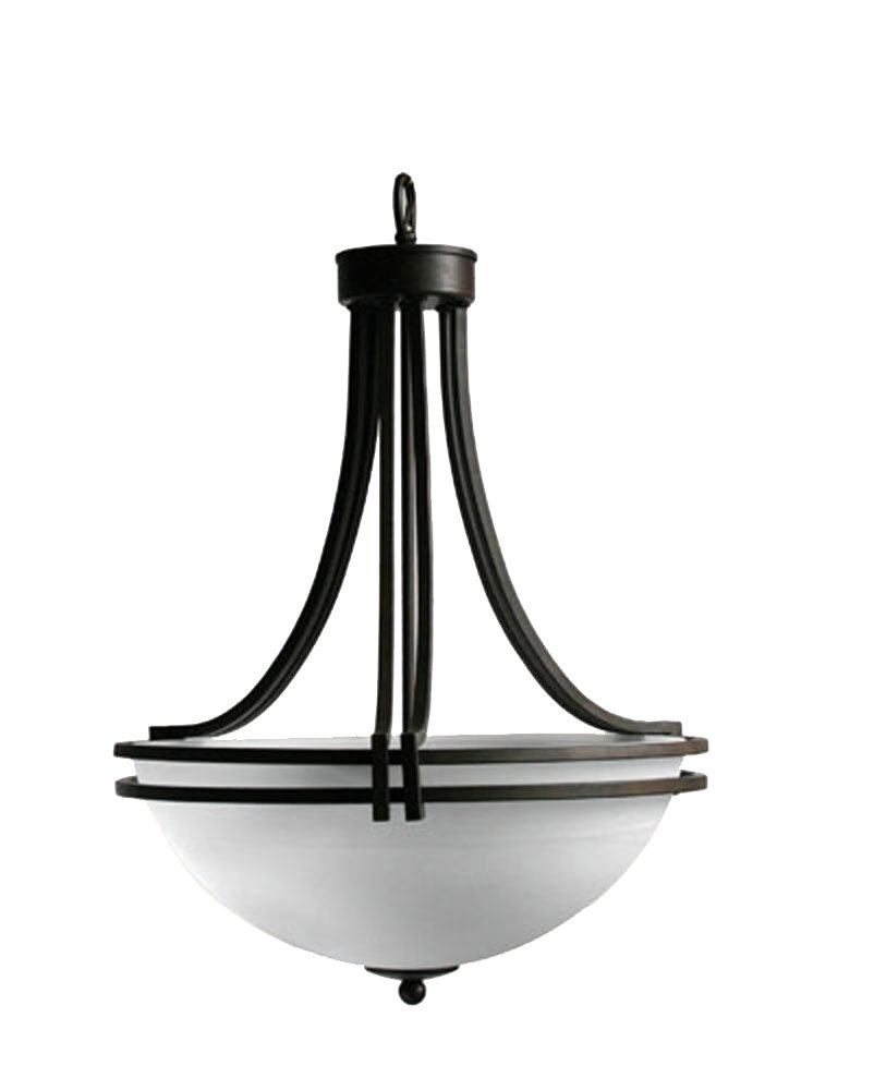 Yosemite Home Decor 98351-3DB Sequoia Pendant with Frosted Alabaster Shade, 3-Light, Dark Brown by Yosemite Home Decor