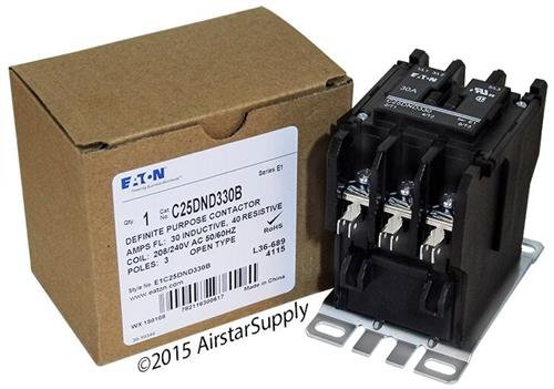 (Eaton 208/240VAC Open Definite Purpose Contactor, 30 Full Load Amps-Inductive, 3 Number of Poles - C25DND330B)