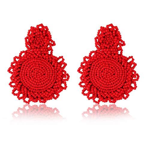 Statement Drop Earrings - Red Bohemian Beaded Round Dangle Earrings Gift for Women