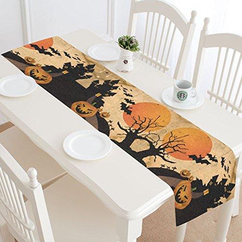 INTERESTPRINT Halloween Night Sky Table Runner Home Decor 16 X 72 Inch,Halloween Pumpkin Bat Table Cloth Runner for Wedding Party Banquet Decoration ()