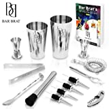 Premium 14 Piece Cocktail Making Set & Bar Kit by Bar Brat ™ / Free 130+ Cocktail Recipes (Ebook) Included/Make Any Drink With This Bartender Kit