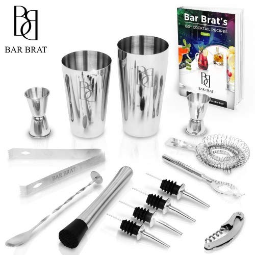 (Premium 14 Piece Cocktail Making Set & Bar Kit by Bar Brat ™ / Free 130+ Cocktail Recipes (Ebook) Included/Make Any Drink With This Bartender Kit )