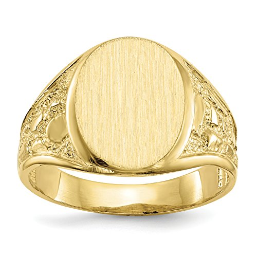 Roy Rose Jewelry 14K Yellow Gold Mens Nugget Design Signet Ring - Custom Engravable Initial or Monogram