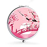 XIANN Mirror Makeup Mini Mirror Handhold Double Side Compact Travel Mirrors - Cherry Blossom Bridge