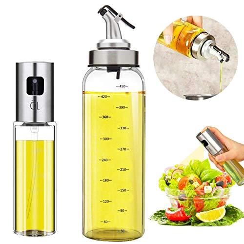 Oil Bottle Olive Oil Dispenser Oil Sprayer Set for Cooking 17OZ Lead-Free Glass Bottle for Oil Drip Free Spout Bottle Stainless Steel BBQ, Salad, Kitchen Baking, Roasting, Frying (2pcs)