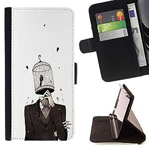 For Samsung Galaxy S6 Case , chelovek kostyum kletka ptica- la tarjeta de Crédito Slots PU Funda de cuero Monedero caso cubierta de piel
