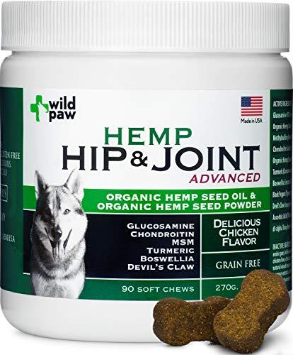 Organic Hemp Hip & Joint Supplement for Dogs with Turmeric, Glucosamine, Chondroitin, MSM, Organic Hemp Oil & Hemp Powder - Healthy Dog Chews - Arthritis Pain Relief & Improved Mobility - 90 Treats