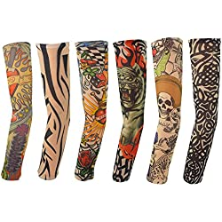 6pcs Temporary Tattoo Sleeves, Hmxpls Body Art Arm Stockings Slip Accessories Fake Temporary Tattoo Sleeves, Tiger, Crown Heart, Skull, Tribal Shape …