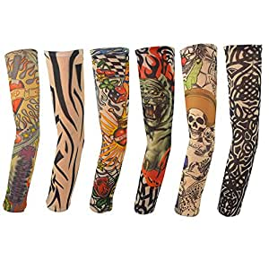 6pcs temporary tattoo sleeves hmxpls body art for Tattoo sleeves amazon