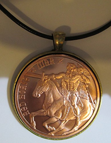 Red Horse of War Copper Round 24 inches Leather Chord Necklace (Pendant Copper Troy)