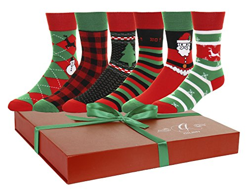 Gilbin's 6 Pairs Men's and Womens Soft Cotton Christmas Holiday Socks, Cool Casual Dress Socks, With Gift Box (Mens Christmas For Socks)