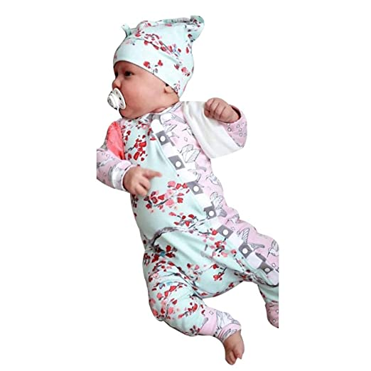 c0aea1912 Amazon.com: G-real Baby Clothes Set, Newborn Baby Girls Clothes Floral  Bodysuit Romper Jumpsuit Sunsuit Outfits Set+Fall Winter: Clothing