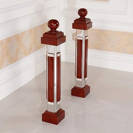 DLT - Balaustres de escalera retro de 110 cm, de aluminio y piel de roble, con bola
