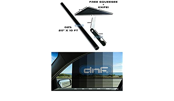 DNF 1 PLY Black 20/% 24 X 100 Feet/ Window Tint Film with Free Tri-Edge Squeegee