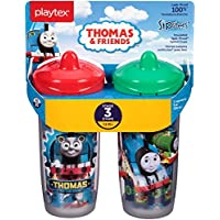 Playtex Sipsters Stage 3 Thomas The Train Spill-Proof, Leak-Proof, Break-Proof Insulated Spout Sippy Cups - 9 Ounce - 2 Count (Color/Theme May Vary)