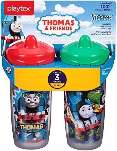 Percy 3 Car - Playtex Sipsters Stage 3 Thomas The Train Spill-Proof, Leak-Proof, Break-Proof Insulated Spout Sippy Cups - 9 Ounce - 2 Count (Color/Theme May Vary)