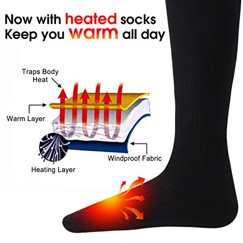 Men's Novelty Heated Socks Includes 3.7V Li-Ion Battery,Compression Elastic Heating Sox,Men and Woman Embroidered Cotton Camping Foot Warmers for Chronically Cold Feet,Great for Sports& Outdoors