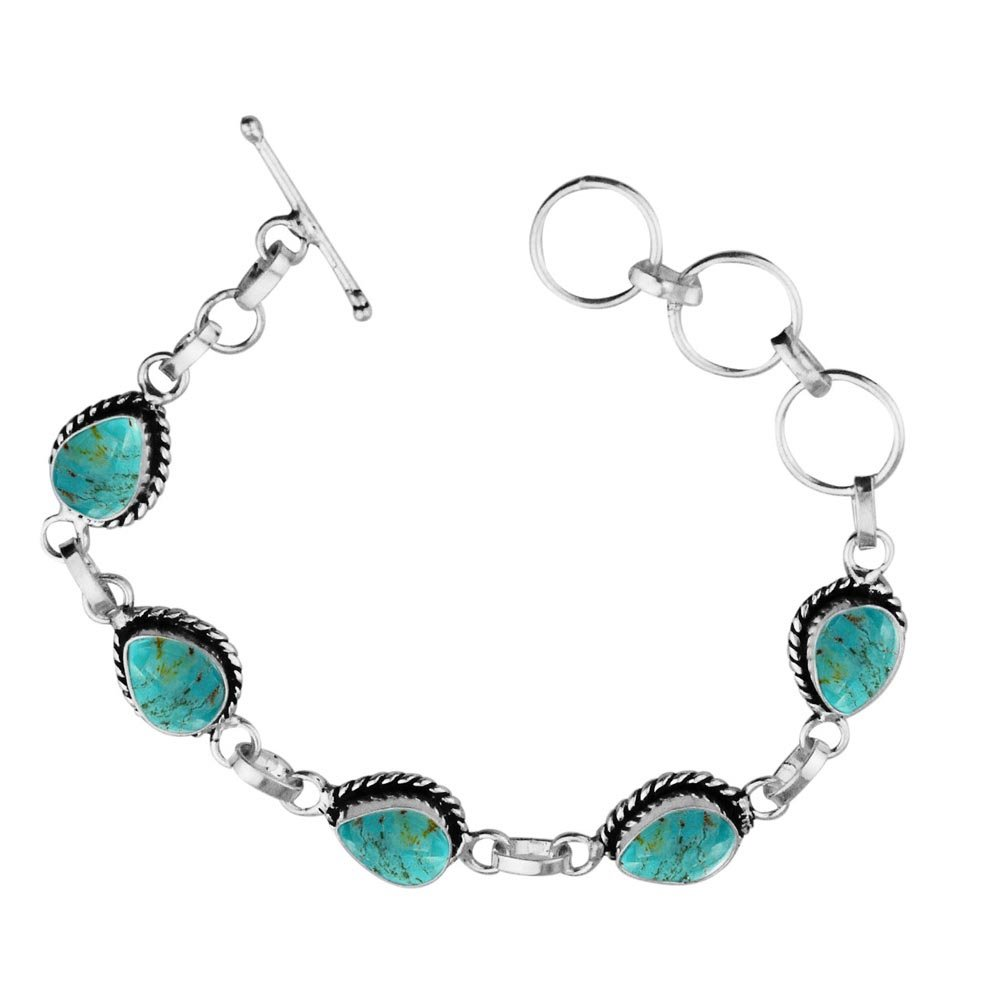 Sterling Silver Jewelry 11.00ctw,Genuine Turquoise & 925 Silver Plated Bracelet Made