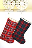 Pink_Marmiral Set of 2 Plaid Christmas Stockings, Family Stockings (Set of 2, Style 1)