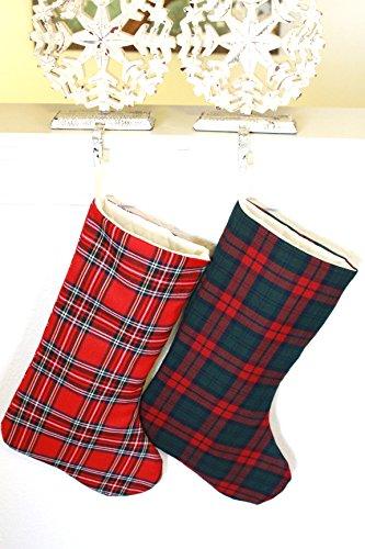 Pink_Marmiral Set of 2 Plaid Christmas Stockings, Family Stockings (Set of 2, Style 1) by Pink_Marmiral