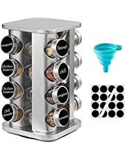 DEFWAY Spice Rack Organizer for Cabinet - Stainless Steel Spice Rack with Reuseable Labels and Funnel, Rotating Spice Rack Organizer for Countertop