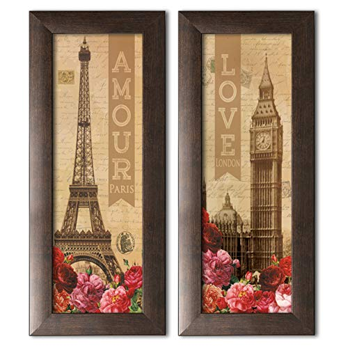 - Beautiful Amour and Love Paris Eiffel Tower and London Big Ben Panels; Floral Decor; Two brown framed 6x18in Prints; Ready to hang!