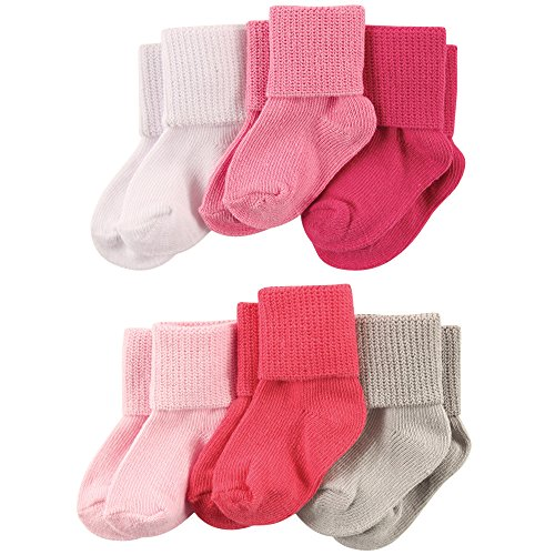 Luvable Friends Baby Basic Cuff Socks 6-Pack, Pink