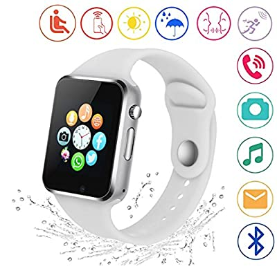 Kkcite Smart Watch Touch Screen Sweatproof Bluetooth Smartwatch Phone With SIM 2G GSM for Samsung Nexus6 Htc Sony and Android Smartphones Support Sleep Monitor, Push Message for Men Women
