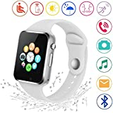 Smart Watch Kkcite 2.5D Touch Screen Sweatproof Bluetooth Smartwatch Phone With SIM 2G GSM for Samsung Nexus6 Htc Sony and Android Smartphones Support Sleep Monitor, Push Message for Men Women Kids