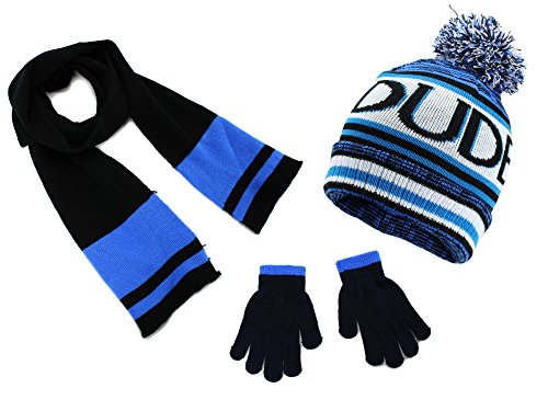 Polar Wear Boys Knit Hat, Scarf And Gloves Set with Words- Turquoise/ (Boys Hat Glove)