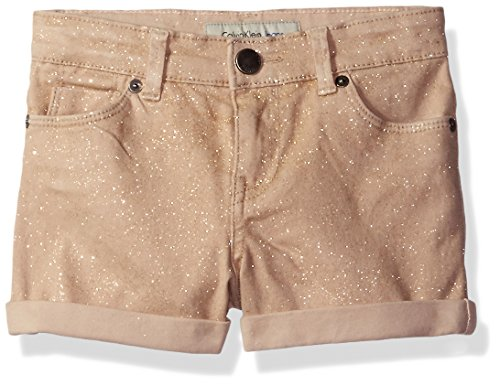 (Calvin Klein Girls' Big Shimmer Roll-up Denim Short, Champagne 10)