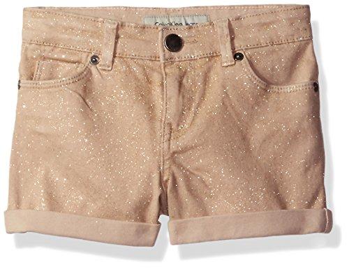 Calvin Klein Little Girls' Shimmer Roll-up Denim Short, Champagne, 6 Beige Denim Shorts