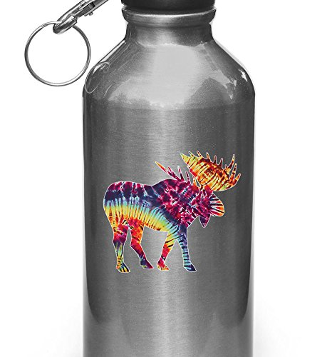 Rainbow Tie Dye Moose - Vinyl Decal for Water Bottle | Thermos Copyright © Yadda-Yadda Design Co. (3.25
