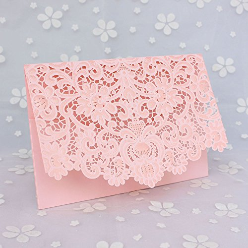 50 Pcs Exquisite Wedding Invitations Cards Lace and Hollow Pattern Cards Kits for Wedding Bridal Shower Birthday-Pink